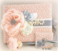 Wedding Guest Book and Pen Set Signature Book in Ivory, Peach and Light Grey with Pearls and Lace
