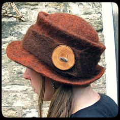 READY to SHIP - 'Wanderer' - hand felted wool felt hat - deep cloche style - women men - brown red orange - tree wood button - handmade OOAK