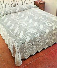~ PDF Crochet bedspread pattern - bedcover - Crochet blanket - Home decor - vintage crochet Filet Crochet, Crochet Quilt, Crochet Tablecloth, Crochet Chart, Thread Crochet, Crochet Doilies, Crochet Lace, Crochet Gratis, Crochet Bedspread Pattern