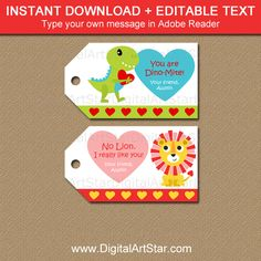Dinosaur and Lion Valentine Tags for Classmates Dinosaur Valentines, Valentines Day Party, Valentines For Kids, Valentine Day Cards, Stickers, Sticker Paper, Lion, Printable Tags, Hang Tags