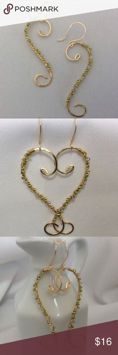"""Brass and Beaded Earrings I have made these beautiful earrings using brass wire and green and clear glass beads. The ear wires are handmade as well. These earrings are about 2 1/2"""" long. Becky Barnes Designs Jewelry Earrings"""