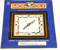 RARE Monopoly Counted Cross Stitch Kit - NEW Complete Kit. $36.00, via Etsy.