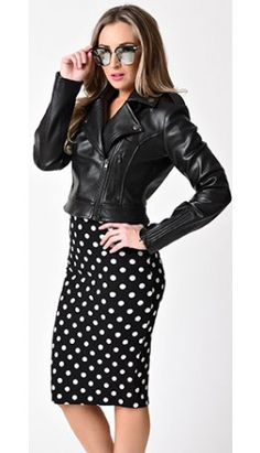 Collectif Retro Style Black Faux Leather Outlaw Biker Cropped Jacket