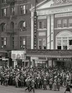 Washington, D.C., circa 1920. Crowds at Metropolitan Theatre, F Street N.W.