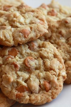 Cowboy Oatmeal Cookies Recipe with Butterscotch Chips... I made these today and they were delicious. I did use butter instead of margarine, coconut oil instead of vegetable oil, and I added a 1/4 C of chopped pecans.