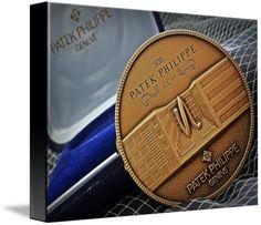 "Patek Philippe Geneve Commemorative Medal Coin $74 // Style: Black Edge Canvas Print; Size: Small 11"" x 15"" // Visit http://www.imagekind.com/Patek-Philippe-Geneve-PPG_art?IMID=1f63993e-3b0d-4b44-8521-e4fef1f8974d for product details."
