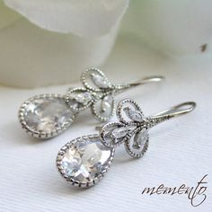 Samantha Silver Pleated Cubic Zirconia Earrings by by MyMEMENTO, $29.60