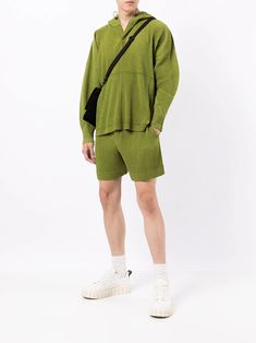 Shop Homme Plissé Issey Miyake elasticated pleated shorts with Express Delivery - FARFETCH Pleated Shorts, Issey Miyake, Military Jacket, Delivery, Boutique, Jackets, Men, Shopping, Fashion