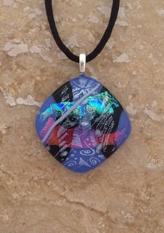 Diamond Shaped Lavender Dichroic Fused Glass by 3DGlassDesigns