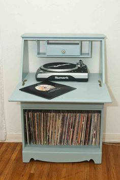I want this!! Vintage Refurbished Record Cabinet. $220.00, via Etsy.