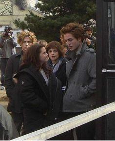 Twilight filming in the school parking lot