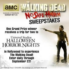 This is your last day to enter The Walking Dead No Safe Haven sweepstakes! Enter now for a chance to win season 3 of TWD on DVD and for a chance to win the grand prize!