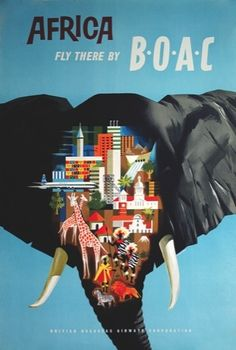 africa: fly there by BOAC - unknown designer [link to series of travel posters]