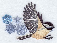 "Flying Chickadee with Snowflakes	Product ID:	E8343 Size:	4.02""(w) x 2.97""(h) (102.1 x 75.4 mm)	Color Changes:	23 Stitches:	20255	Colors Used:	10"