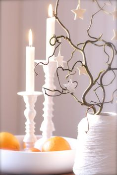 White christmas - Use of mix of items you currently own... and add pops of color... with lemons or oranges.