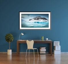 Very large art print of the teal blue water around the mountains on Iceland. This is a stunning fine art giclee print that comes in Limited Editions and in sizes big enough to fill that space over the fireplace, the dining room or the bedroom. TITLE: TEAL WATER, JOKULSARLON, ICELAND  This is an original, fine art giclee print from a limited edition print run, only a very few will ever be sold around the world. Artist signed and available on paper or canvas…