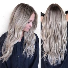 Beige blonde with a shadowed root