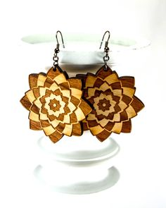 New to JDBmercantile on Etsy: Flower Earrings -Unique Lightweight Abstract Engraved Wood Earrings in Cherry Maple or Walnut [EA-040] (18.00 USD)