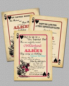 Playing Card Alice in Wonderland Invitation Bridal Shower or Birthday Invitation, Printable, Invite. $12.00, via Etsy.