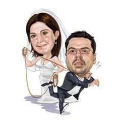 Hochzeitskarikatur gebundener ehemann for Hochzeitsgeschenk ehemann