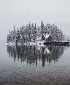 #EmeraldLake #Banff #Lake #Winter Hyde Park Winter Wonderland, Travel, Snow, Cabin - Follow #extremegentleman for more pics like this!