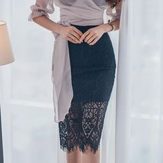 Elegant Lace Wrap High Waist Skirt; You can choose this High waist skirt for your office times, which looks in elegant and formal; 8.20 US$