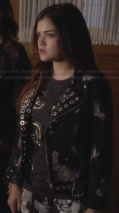 Aria's grey beaded rose top and eyelet detail jacket on Pretty Little Liars.  Outfit Details: http://wornontv.net/26387/ #PrettyLittleLiars