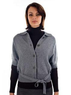 100% Cashmere Shirt Collar Belt Jacket