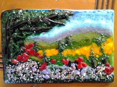 Fused Glass Art, Glass Landscape, Impressionist Frit Painting.  WOW!