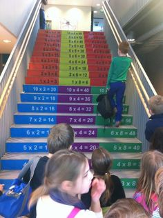 Multiplication staircase in a primary school in China.