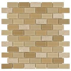 Gela Brick Mosaic Glass Tile 4mm | Floor & Decor