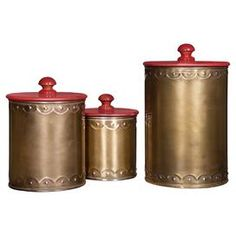3-Piece Gloria Canister Set in Red