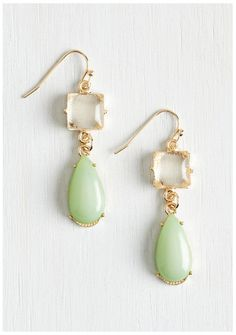 "First we have the ""Droplets of Dew Earrings in Mint."" These earrings are so pretty! They are made up of mint gemstones and crystalline squares. These are definitely going in my jewelry box! It is on sale for $6.99!"