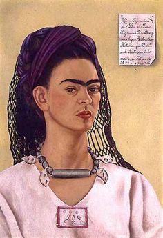 """""""Autorretrato dedicado a Sigmund Firestone"""" (1940, óleo sobre masonite, ~México Coyoacàn~ Para el Señor Firestone u sus hijas Alberta y Natalia pintè èste autoretrato con todo cariño en Febrario 1940. ~ Frida Kahlo"""