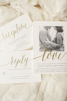 Classic calligraphy and gold foil for wedding invitation