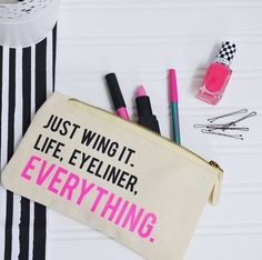 Just Wing It Make Up Bag – Eyeliner Quote – Beauty Bag – Gift For Her – Cosmetics Bag – Eyeliner Accessory Pouch – Rock On Ruby Makeup Bags – £9.50+