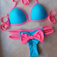 ❤️Cute Brazilian pink ribbon thong bikini❤️ Summer is coming! Size is small never worn before. Feel free to ask any questions Swim Bikinis