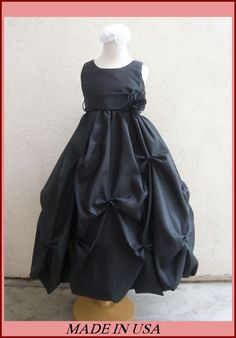 2012 P01 BLACK CHRISTMAS FLOWER GIRL PAGEANT GIRL DRESSES 1 2 4 6 8 10 12 14