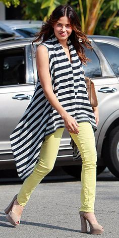 LEMON JEANS  Yellow can be tricky against many complexions. Play it safe (while embracing this season's colored denim trend) by picking a pair of pale yellow pants and topping them them with a casual, flattering top, like Jenna Dewan's nautical draped piece.