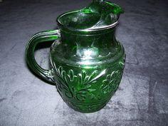 GREEN PITCHER DEPRESSION GLASS