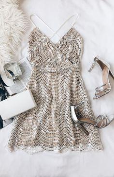 8c73a05530ab Lele White and Silver Sequin Mini Dress