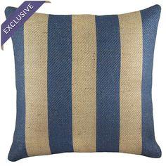 Handmade burlap pillow with a stripes motif.    Product: PillowConstruction Material: BurlapColor: Blu...