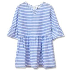 Stripes Flare Sleeves T-Shirt With Zipper