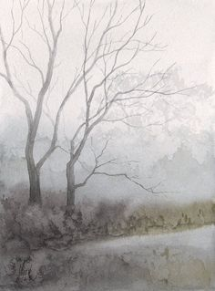 """Jill Poyerd Watercolors - Watercolor Landscapes """"misty trees"""""""