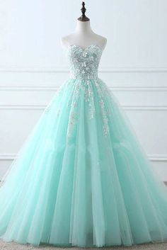Custom Made Luscious Prom Dresses Lace, Green Prom Dresses, Long Prom Dresses Green Wedding Dresses, Pretty Prom Dresses, Elegant Prom Dresses, Dress Prom, Dress Long, Sweetheart Prom Dress, Tiffany Blue Prom Dresses, Party Dress, Blue Evening Dresses