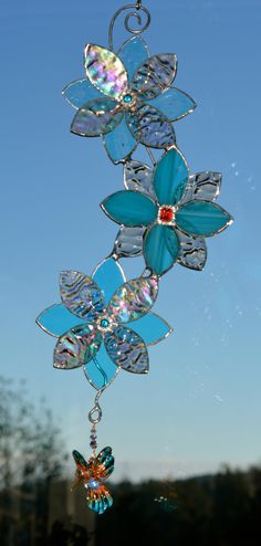 Stained Glass Suncatcher - 3D Flowers & Hummingbird, Rhinestone Flower Centres, Blown Glass Hand Painted Hummingbird, Blue Peach Iridescent