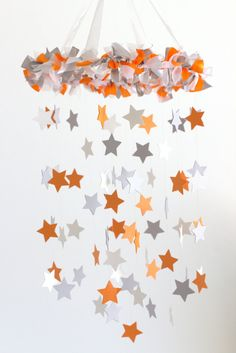Orange Gray Nursery Mobile Star Baby Mobile in by LovebugLullabies