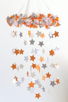 Orange Gray Nursery Mobile Star Baby Mobile in by LovebugLullabies