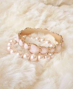 Hearts & pearls rings ✿⊱╮