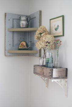 Add vintage wooden boxes to metal shelf rack supports and paint boards to create corner shelves for vintage cottage chic shabby style home decor; upcycle, recycle, salvage, diy, repurpose!  For ideas and goods shop at Estate ReSale & ReDesign, Bonita Springs, FL